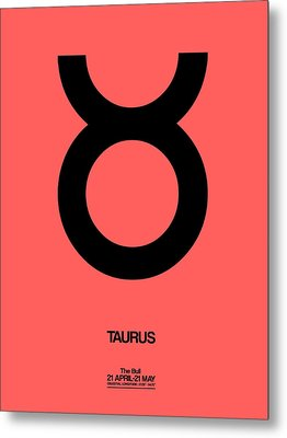 Taurus Zodiac Sign Black  Metal Print by Naxart Studio