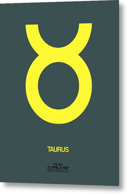 Taurus Zodiac Sign Yellow Metal Print by Naxart Studio