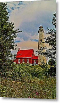 Tawas Point Light Retro Mode Metal Print