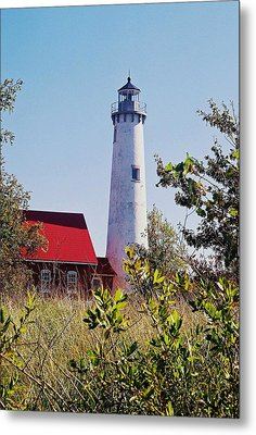 Tawas Point Lighthouse...from Tawas Bay Side Metal Print by Daniel Thompson