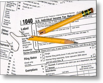 Tax Forms And Frustration Metal Print by Joe Belanger