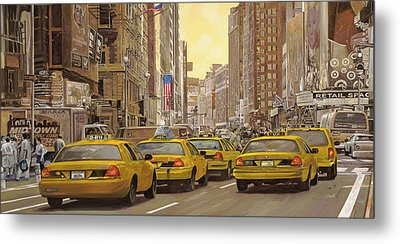 taxi a New York Metal Print by Guido Borelli