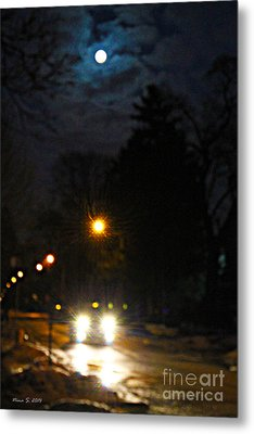 Metal Print featuring the photograph Taxi In Full Moon by Nina Silver