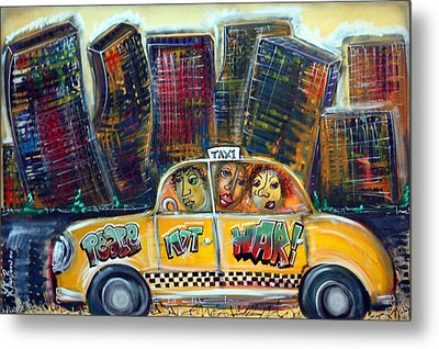 Taxi Metal Print by Laura Barbosa