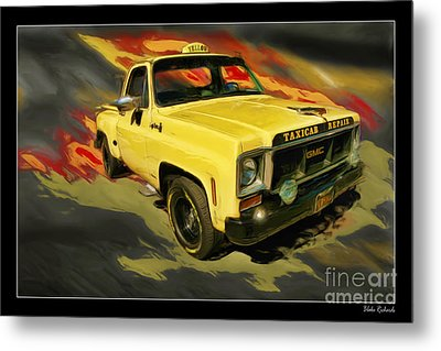 Taxicab Repair 1974 Gmc Metal Print by Blake Richards