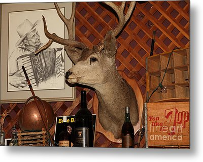 Taxidermy Deer In The Cellar Room At The Swiss Hotel Sonoma California 5d24450 Metal Print by Wingsdomain Art and Photography