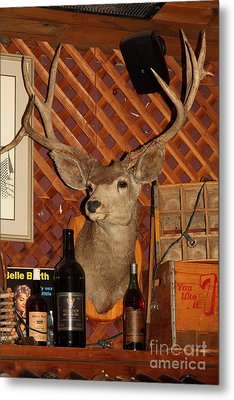 Taxidermy Deer In The Cellar Room At The Swiss Hotel Sonoma California 5d24453 Metal Print by Wingsdomain Art and Photography
