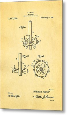 Taylor Egg Beater Patent Art 1916 Metal Print by Ian Monk