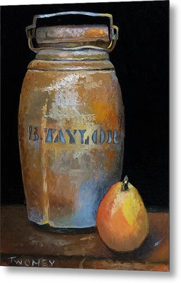 Taylor Jug With Pear Metal Print by Catherine Twomey