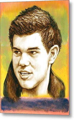 Taylor Lautner - Stylised Drawing Art Poster Metal Print by Kim Wang