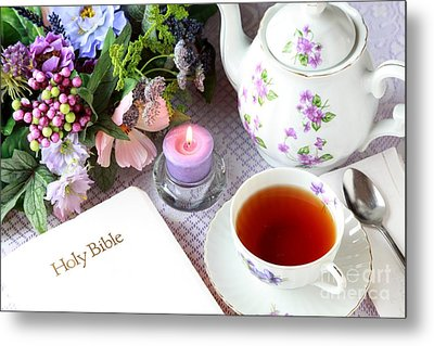 Tea And Scripture Metal Print by Pattie Calfy