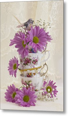 Tea Cups And Daisies  Metal Print by Sandra Foster