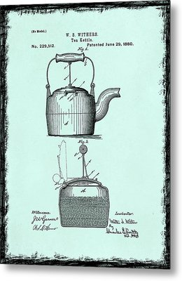 Tea Kettle Patent 1880 Metal Print by Mark Rogan