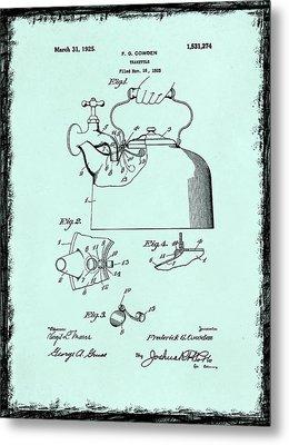 Tea Kettle Patent 1923 Metal Print by Mark Rogan