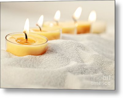 Metal Print featuring the photograph Tea Light Candles In Sand by Sandra Cunningham