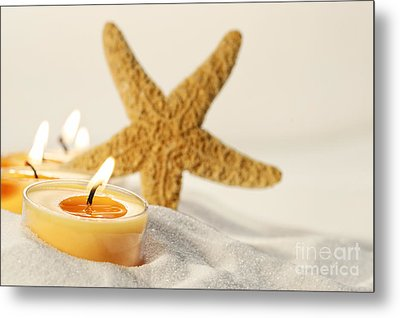 Metal Print featuring the photograph Tea Light Candles In Sand With Star Fish by Sandra Cunningham
