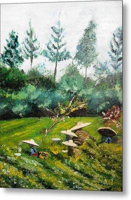 Tea Plantation In Indonesia Metal Print
