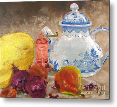 Tea Pot And Spice Grinder Metal Print