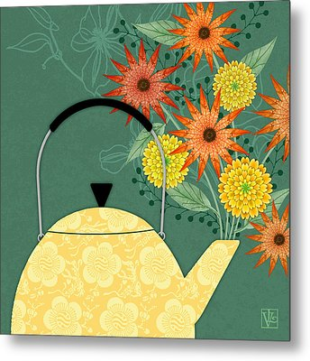Tea Pot Glory Metal Print by Valerie Drake Lesiak