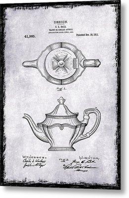 Tea Pot Patent 1911 Metal Print by Mark Rogan
