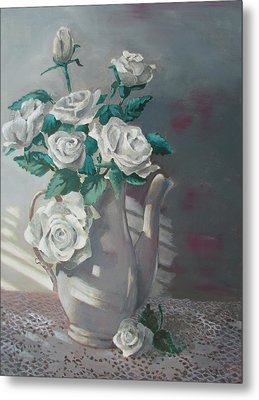 Tea Pot Roses Metal Print by Tony Caviston