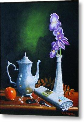 Tea Pot With Iris Metal Print by Gene Gregory