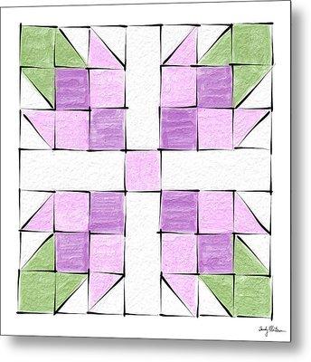 Tea Rose Quilt Block Metal Print by Sandy MacGowan