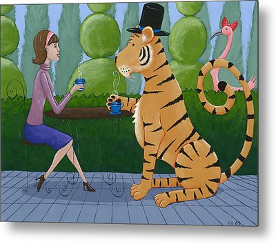 Tea With A Tiger Metal Print by Christy Beckwith