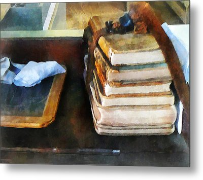 Teacher - Old School Books And Slate Metal Print by Susan Savad