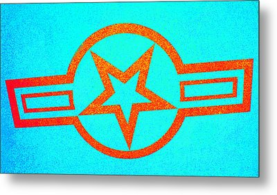 Teal And Rust Fighter Star Metal Print by Holly Blunkall