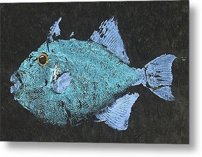 Gyotaku Triggerfish Metal Print