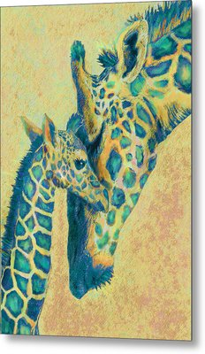 Teal Giraffes Metal Print by Jane Schnetlage