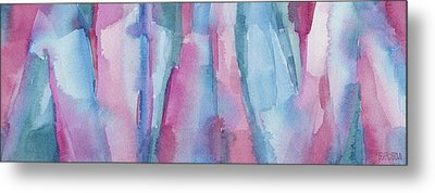 Teal Magenta And Turquoise Abstract Panoramic Painting Metal Print by Beverly Brown