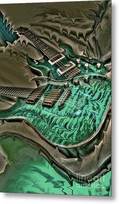 Teal Steel Digital Guitar Art By Steven Langston Metal Print by Steven Lebron Langston