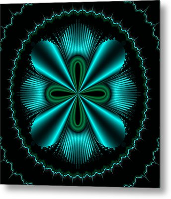 Teal Wheel Mandelbrot Metal Print by Faye Symons