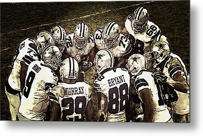 Team Huddle Metal Print by Carrie OBrien Sibley