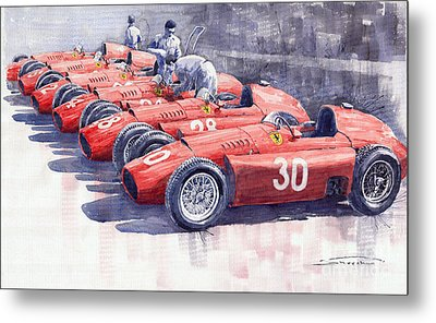 Team Lancia Ferrari D50 Type C 1956 Italian Gp Metal Print by Yuriy  Shevchuk