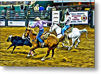 Team Ropers Metal Print by Alice Gipson
