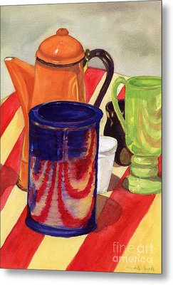 Metal Print featuring the painting Teapot And Cup Still Life by Mukta Gupta