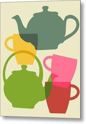 Teapot And Teacups Metal Print by Ramneek Narang
