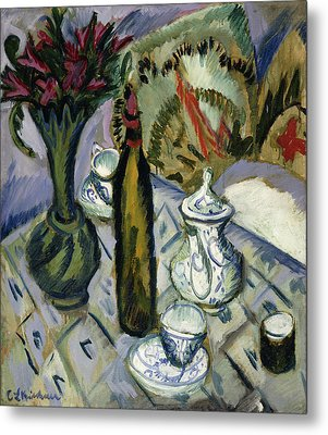 Teapot Bottle And Red Flowers Metal Print by Ernst Ludwig Kirchner