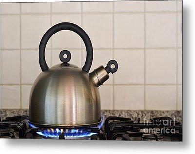 Teapot On Gas Stove Burner Metal Print