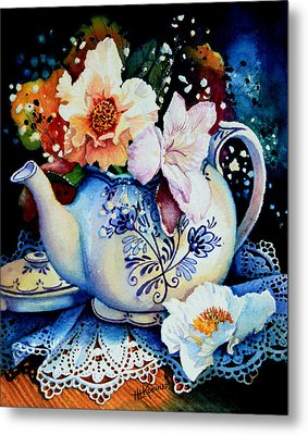 Teapot Posies And Lace Metal Print