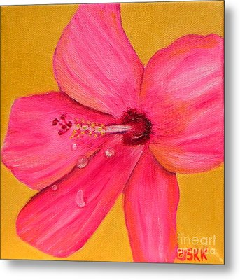 Metal Print featuring the painting Teardrops - Pink Hibiscus Flower by Shelia Kempf