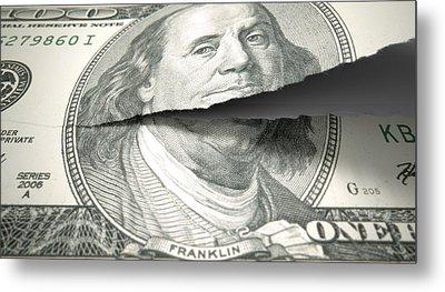 Tearing American Dollar Metal Print