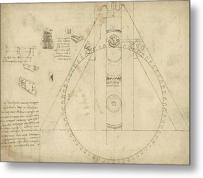 Teaseling Machine From Atlantic Codex Metal Print by Leonardo Da Vinci