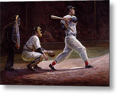 Ted Williams At Bat Metal Print by Gregory Perillo