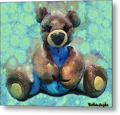 Teddy Bear In Blue Metal Print by Barbara Snyder