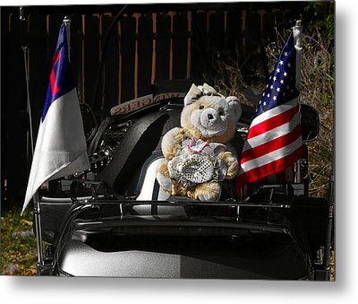 Teddy Bear Ridin' On Metal Print by Christine Till