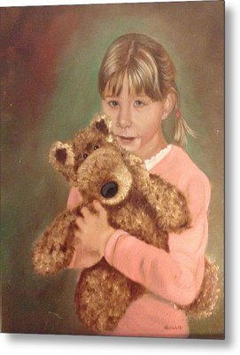 Metal Print featuring the painting Teddy Bear by Sharon Schultz